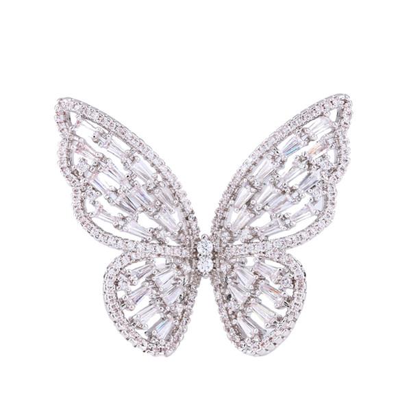 Zarif Yüzük Güzel Çekici Lüks Büyük Kelebek Şekli Yüzük Moda Takı Aksesuarları Kadınlar için Gümüş Giyen