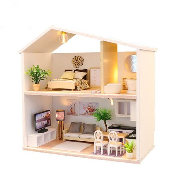 Hongda DIY doll house wooden 3D Puzzle Miniature dollhouse with Furniture Building Model Home Casa De Boneca Toys- Light Time