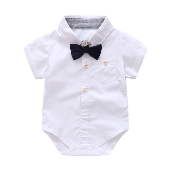 Bebê recém-nascido Menino Verão Roupas Formais Set Arco de Casamento Meninos  de Aniversário Terno Geral Camisa Romper Branco Criança Gentleman Outfit 6bd6498154c