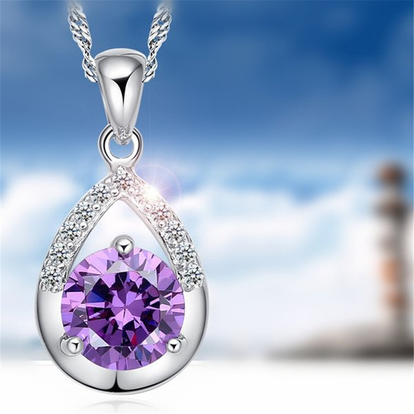 CZ Crystal from Swarovski Water Drop Pendant Necklaces For Women Korea Trendy Jewelry Fashion Accessories Classic Gift 64