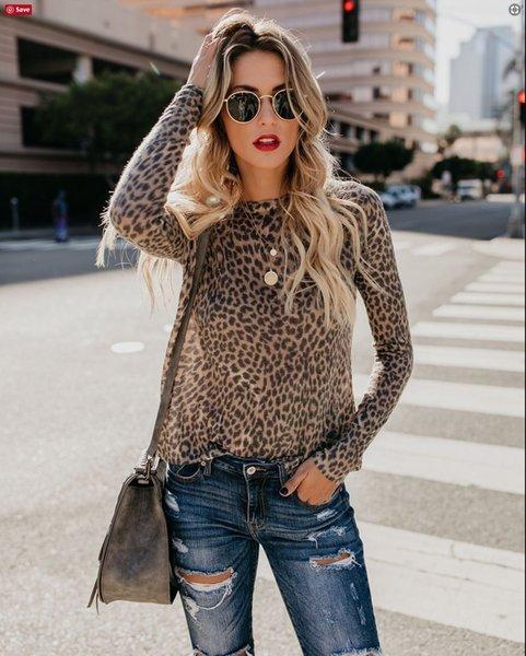 Mulheres Slim Fit Leopard T camisas Primavera Outono de Manga Comprida Moda Tops Femininos Vestidos