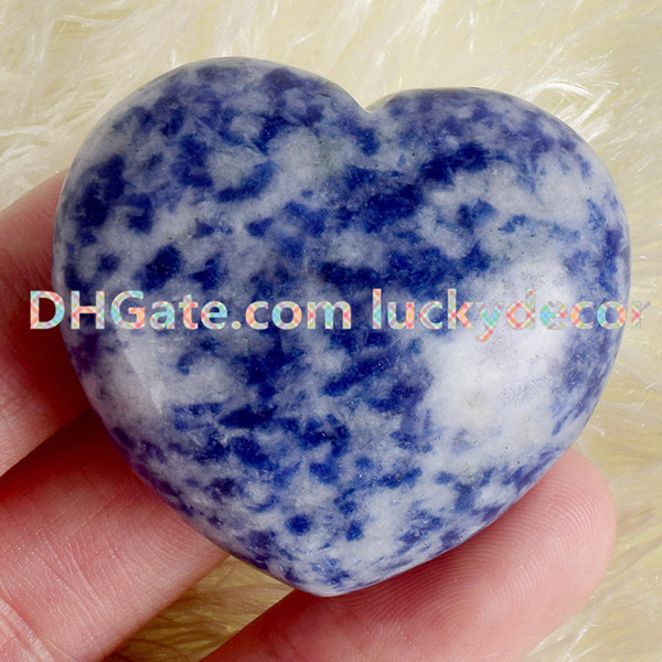 20Pcs Blue Sodalite Crystal Hearts Reiki Infused Sodalite Gemstone Pocket Love Heart Carving Natural Stone Heart Shaped Specimen Collectible