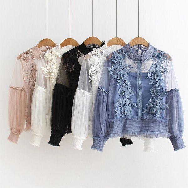 2018 Spring Summer Japan Style Fashion Sexy Lace Blouse Women Lantern Sleeve Shirt Floral Elegant Tunic Tops Mesh Blusas Y190510