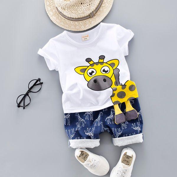 Crianças de verão Roupas de Bebê Conjunto para Meninos Cut Animal Dos Desenhos Animados Roupas Infantis Terno Girafa Top T-shirt Criança Roupa 1 2 3 4 anos