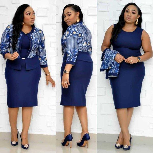 Sale New Autumn Elegent Fashion Style African Women Print Plus Size Knee Length Dress 4xl Party Two Pieces Set Bandage Pencil Dresses Suit