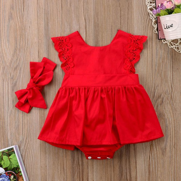 New Arriavl Christmas Ruffle Red Lace Romper Dress Baby Girls Sister Princess Bambini Xmas Party Dresses Costume neonato in cotone