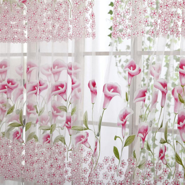 Sabah Zafer Pencere Gazlı Bez Tül 200 * 100 CM Şeffaf Kapı Asmak Asma Çiçek Kız Odası Tekstil Pencere Ekran levha # B30