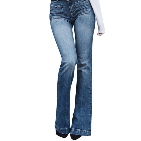 Ladies Cutton Low Waist Flare Jeans Boyfriend Jeans For Women Denim Skinny Woman Female Wide Leg Pants Plus Size 3XL Pants