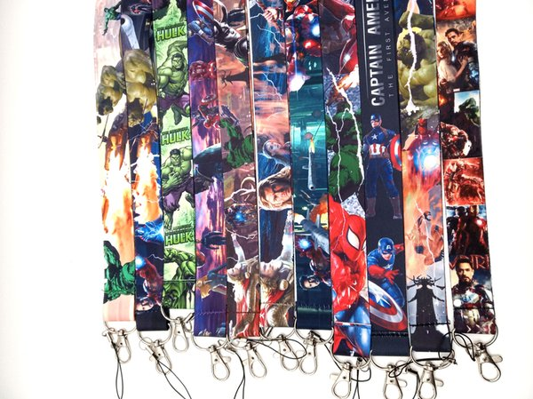 Wholesale 10 pcs Super hero Avengers key Chain Neck Strap Keys Camera ID Card Lanyard Mobile Phone Neck Straps A-32