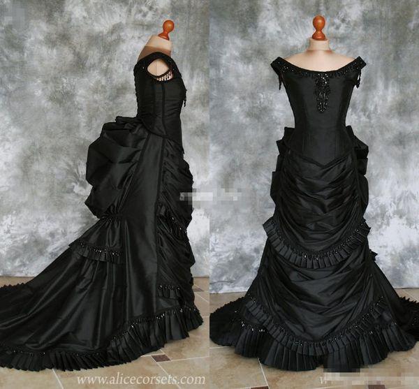 Black Gothic Wedding Dresses Off Shoulder Ruffles Crystals Taffeta Chapel Train 2019 Costume Dress Lace Victorian Bridal Gowns Custom Made