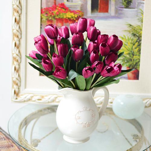 Venta al por mayor - 1 ramo 9 cabezas de tulipán falso Artificial flor de seda Home Office Decoración de la boda 6NCJ