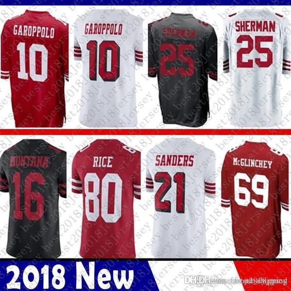 San Francisco 25 Richard Sherman 10 Jimmy Garoppolo 49ers Jersey 56 Reuben  Foster 16 Joe Montana a957c5c19
