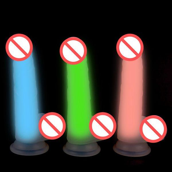 7.5'' Jelly Silicone Fluorescent Dildo Realistic Faloimitator Glow in the Dark Penis Strapon Intimate Adult Sex Toys for Woman Sex Shop