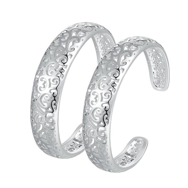 1 paire rétro fleur creuse alliage argent couleur manchette bracelets femmes dames ouverture bracelet bracelet bijoux pour les couples