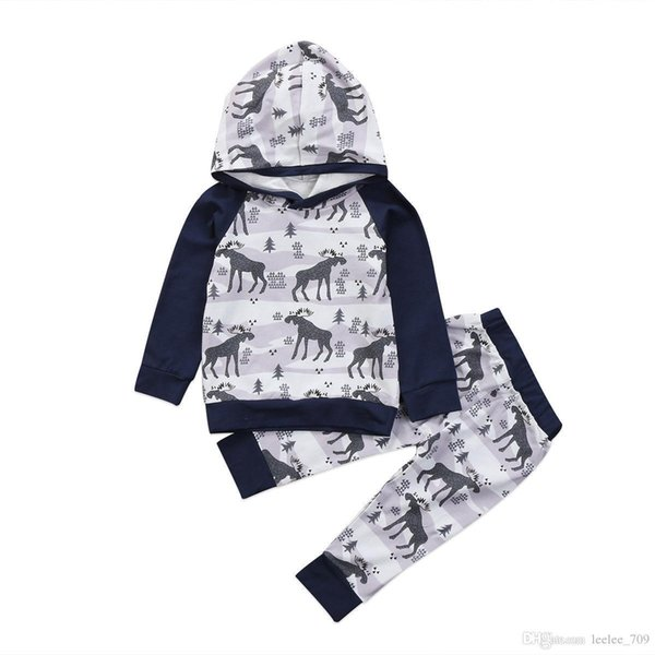 Kids Tops Hoodie Top Pant Leggings 2pcs Cute Animals Kids Baby Clothes Set Warm Outfits Deer Baby Boys Girls Christmas Clothes