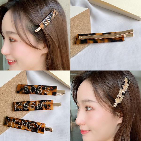 INS web celebrity hydraulic drill English letter hair clip cutie bangs word clip acetic acid board leopard print side clip