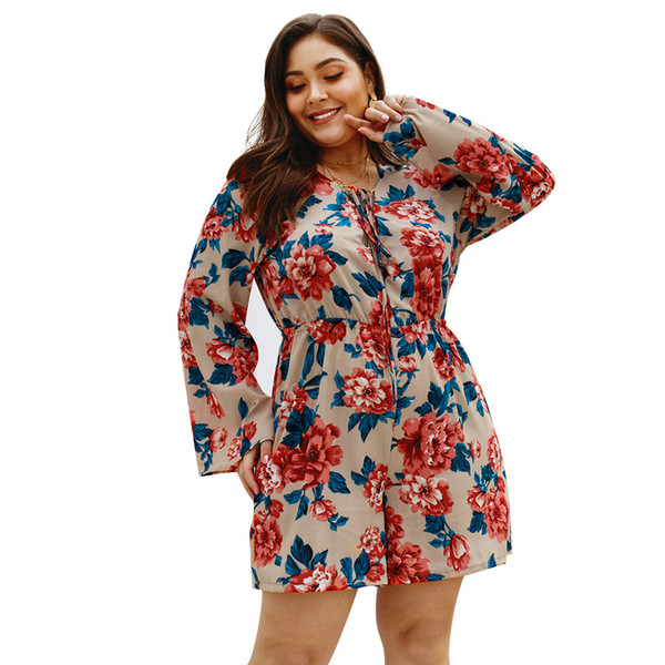 2019 Hot Sale Plus Size Deep V-Neck Flare Sleeves Jumpsuits Women's Playsuit Loose Summer Ladies Playsuit Jumpsuits