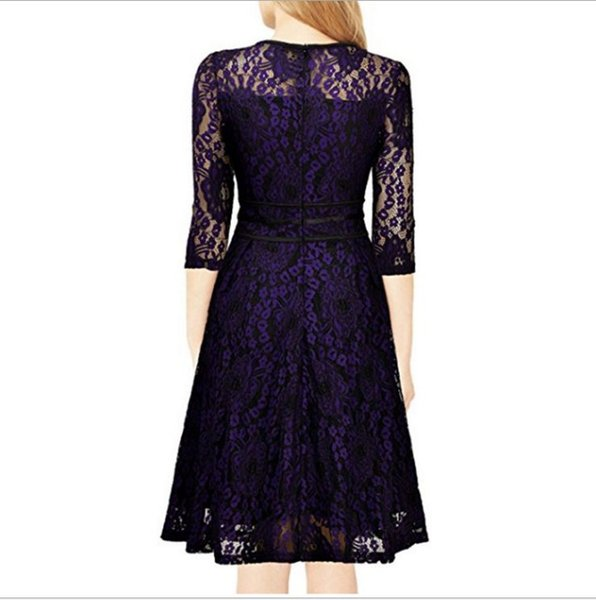 Women's Floral Lace Wedding Cocktail Swing A-line Dress with 3/4 Sleeve for Party