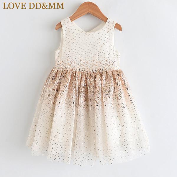 AMOR DDMM 2019 vestidos de las muchachas del verano de los nuevos niños de la princesa vestido T191006 Desgaste de moda las niñas degradado de las lentejuelas de malla sin mangas dulce