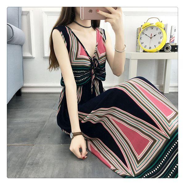 Women Dress Summer Fashion Bohemian Style Tank Tops Sleeveless V neck Beach Dress Female Clothes For Summer