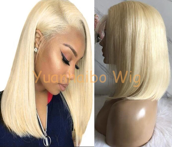 Short Bob Cut Wig Full Lace Wigs Chinese Virgin Human Hair 613 Blonde Hair Wig Lace Front Long for Black Woman Free Shipping