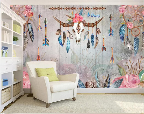 3d Room Wallpaper Custom Photo Mural Hand Drawn Vintage Indian Tribal Style Feathers Watercolor Deer Skull Wallpaper For Walls 3 D Free Wallpaper High