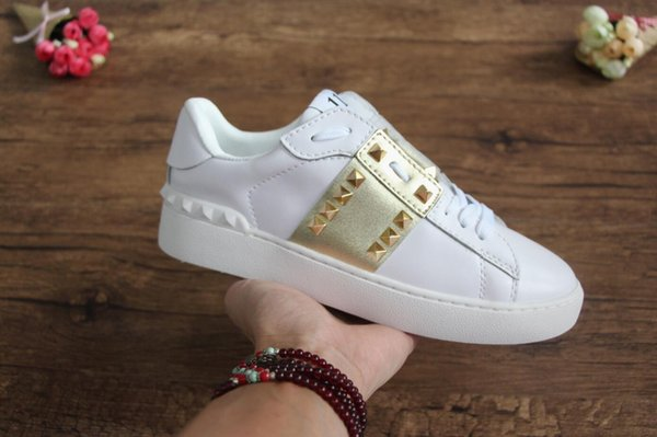 Best gift fashion brand shoes, top quality designer casual shoes, leather, famous men's and women's walking casual shoes, gold nails