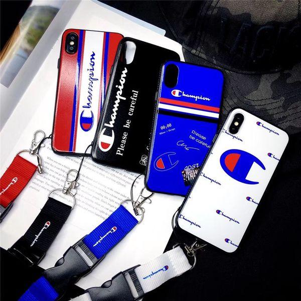 Mode Marke Gedruckt Brief Zurück Abdeckung Fall Streifen Muster Armband Seil Telefon Shell Flut mit Lanyard für iPhone X XS MAX XR 6 6 s 7 8 Plus