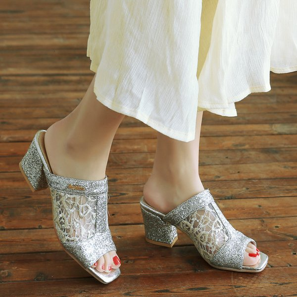 Fascinating2019 Lace Baida Leisure Time Fish Mouth Cool Slipper Woman Xia Zhonggen Coarse With Toe Reticular Shoe