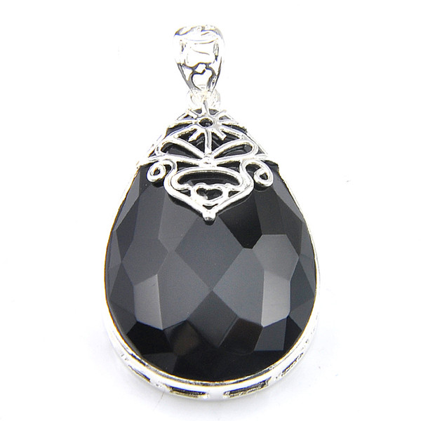 Natural ONYX Gemstones Vintage Jewelry CROSS Pendant Black 925 Silver Plated