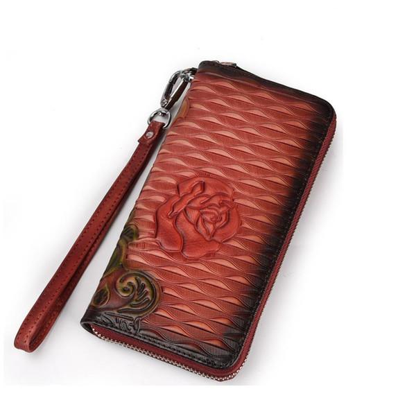 Johnature 2019 New Damen Brieftaschen und Geldbörsen handgefertigt aus echtem Leder Vintage Floral Prägung lange Hand Brieftasche Clutch Wallets