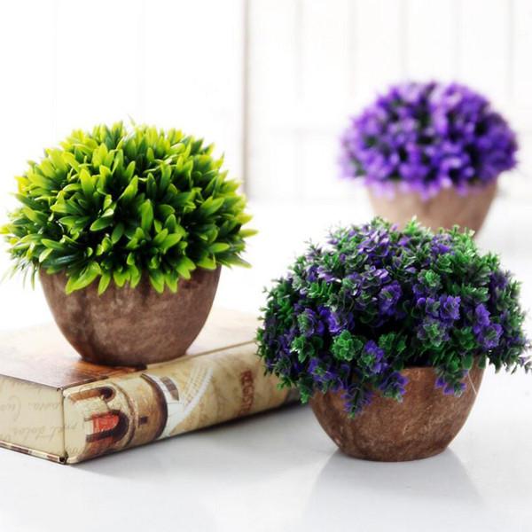 Vaso di piante artificiali Set di piante in plastica Bonsai Fiore artificiale In Pot Wedding Home Garden Decorazione dell'ufficio
