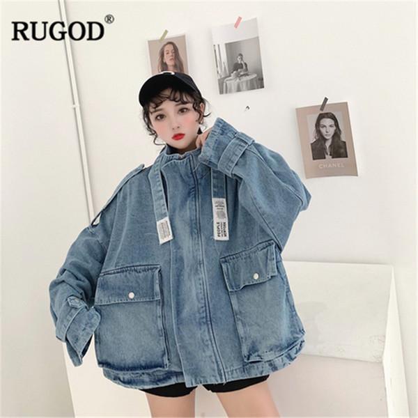 RUGOD Мода плюс размера женщин джинсовой ткани пальто свободного длинных рукавов молнии Harajuku стиль кармана синего стрит MODIS джинсы куртка SH190926
