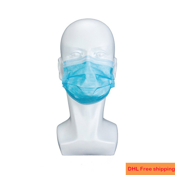 best selling disposable face mask IN Stock High Quality Blue Non Woven Ear-loop 3ply dust mascarillas mouth mascherine Protective masks DHL Free shipping