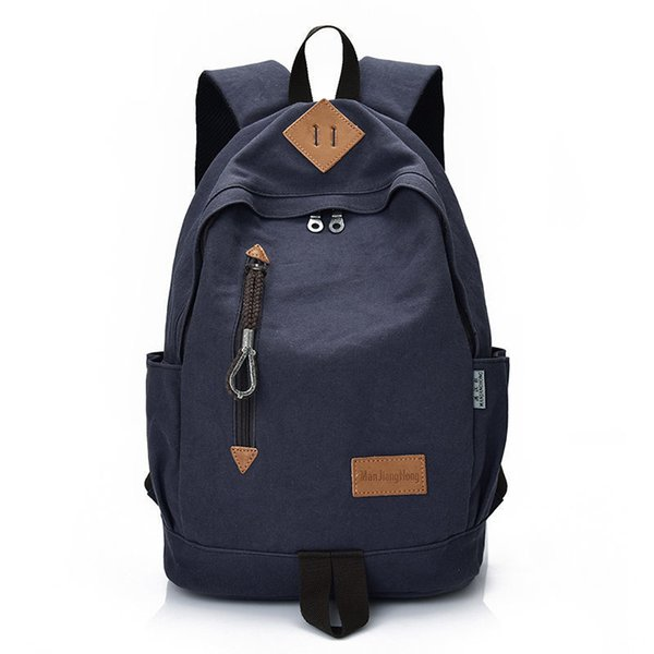 Manjinghong Famous Brand Man&woman Canvas Backpack Black Gray College Student Bag School Big Capacity Backpack Bag 1384