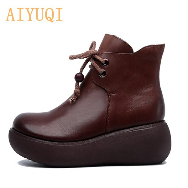 AIYUQI Genuine Leather Women's Shoes 2020 New Spring Women's Shoes Platform Retro Boots Thick Soles Women