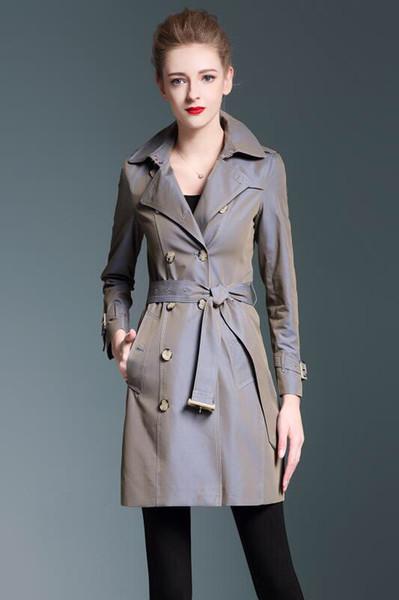 Femmes mi-longueur trench trenchs mince solide dames bleu vert armée rose manteau classique imperméable manteau coupe-vent de ZZ1