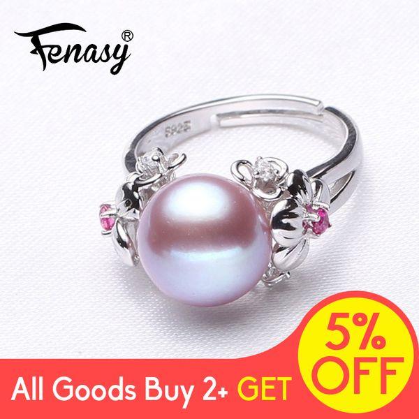 FENASY Big Perla Gioielli 925 anello d'argento per le donne d'acqua dolce perla naturale Rubino Fiore Cubic Zirconia CZ Boho Anello