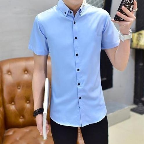Men Solid Colors Dress Shirts Big Size 6XL 7XL Short Sleeve Slim Fit New Summer 2018 Casual Clothes Male White Black Blue G030