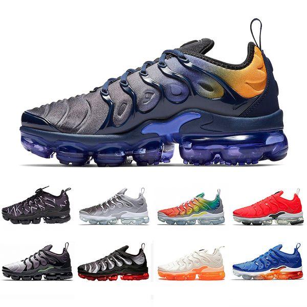 Yeni Stil TN Artı Koşu Ayakkabıları Erkek Kadın Oyunu Kraliyet Gökkuşağı ağartılmış aqua ÜÇLÜ BEYAZ SIYAH Solmaya Mavi VOLT Trainer Tasarımcı Sneakers