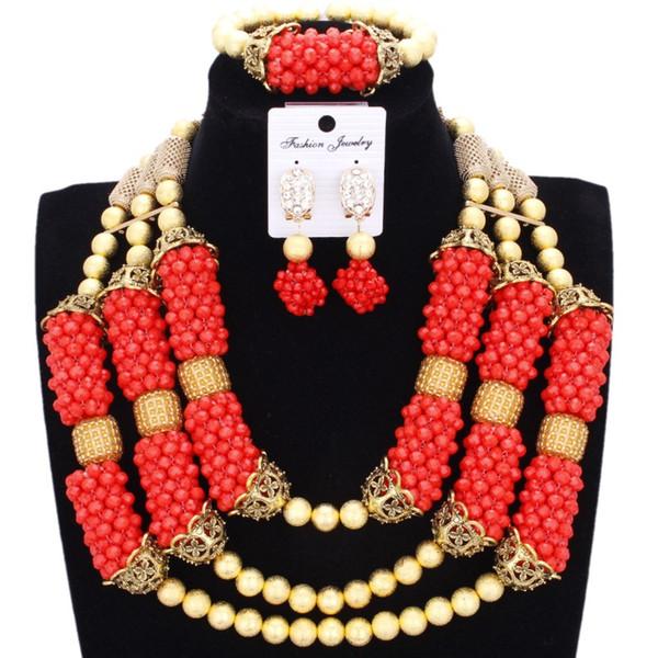 Jewelry Set Dubai Necklace Earrings Bracelet Set Orange Gold African Jewellery Indian Evening Jewelry Set Crystal Balls Wedding
