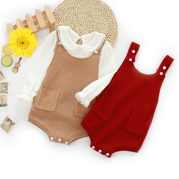 Fall Baby Girls Rompers INS New Autumn Infant Blank Red Brown Knitting Jacquard Vest Jumpsuit Kids Girls Sweater Bodysuit Babies Romper 0-2T