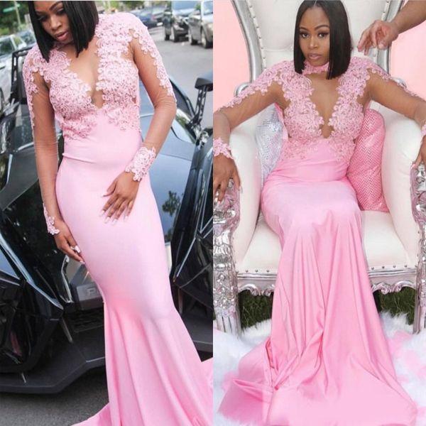 Incroyable Slim modeste rose robes de bal pour les filles d'Afrique sirène col haut à manches longues Sheer Illusion Appliques Top longue Party Robes de soirée