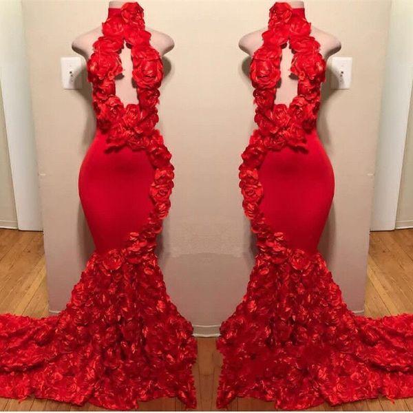 Red New Design Mermaid Prom Dresses Appliques Collo alto Sexy abiti da sera formale Sweep Train Satin Luxury Fashion Cocktail Party Gowns