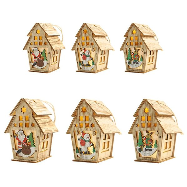 2019 Christmas Wooden Decoration Cabin Illuminated With Lights Hanging Christmas Tree Ornaments DIY Small House Festival