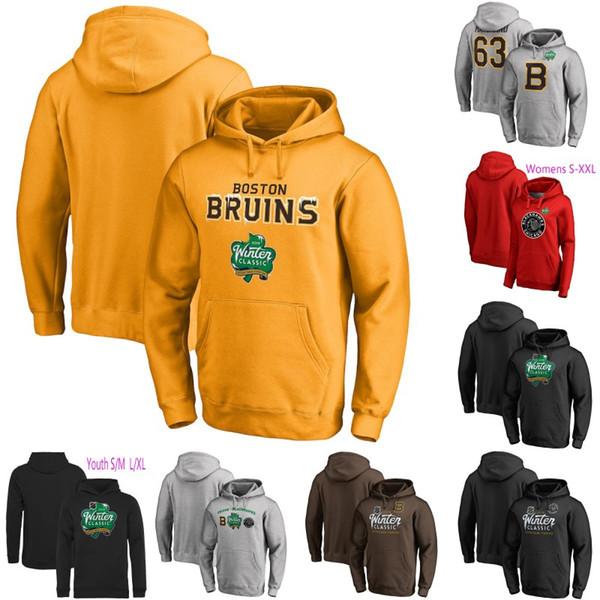 Mens womans juventude Boston Bruins Fanatics Branded Preto 2019 Inverno Clássico Evento Logotipo Hóquei No Gelo Pullover Hoodies Jerseys S-XXXL