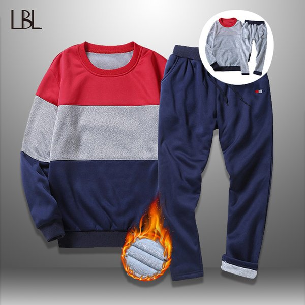 LBL Winter Tracksuits Men Set Bodybuilding 2018 Sporting Mens Sweatpants Striped Sweatshirts Sets Thick Track Suit Male Clothing