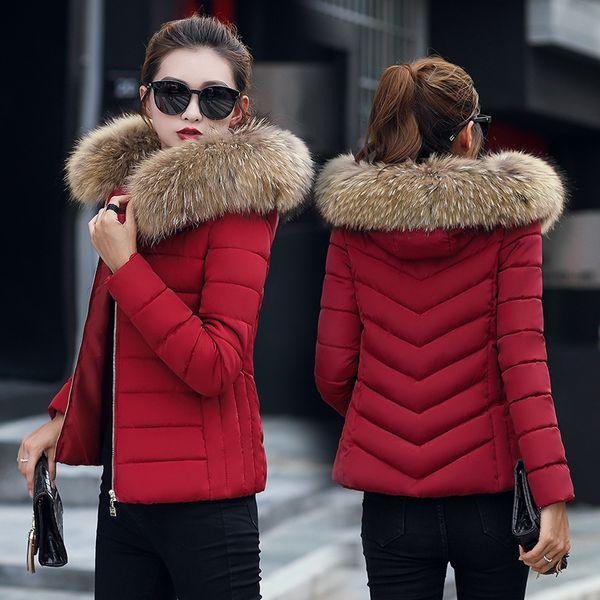Kış Ceket Kadınlar Parka Kapşonlu İnce Kürk Yaka Pamuk Yastıklı Ceket Palto Kadın Sıcak Kısa Parkas Dış Giyim Artı Boyutu 4XL DR01