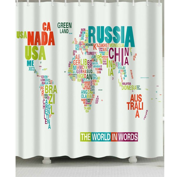 2019 English World Map Shower Curtain Bathroom Durable Fabric Mildew  Bathroom Accessories Creative With 12 Hooks 180X180CM From Zhouyueli222,  $19.0 | ...
