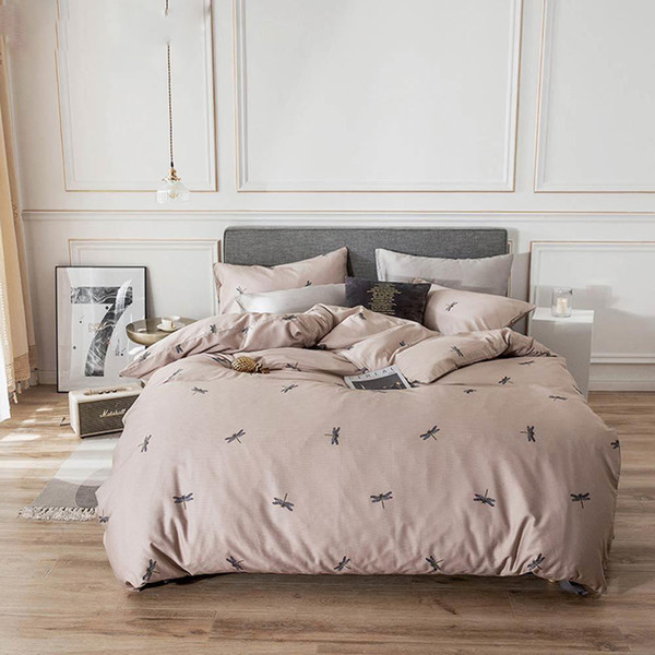 2019 Chocolate Dragonfly Brief Bedlinens Twin Queen King Size Flat Sheet Fitted Sheet Duvet Cover Set Soft Cotton Bedding Set